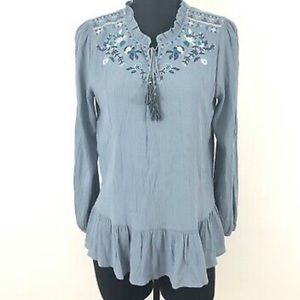 Knox Rose embroidered Tasselled tunic Blouse